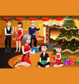 family having a christmas party vector image