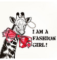 fashion background with stylish giraffe girl vector image