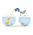 Fish jumping to his lover vector image vector image