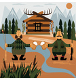 Flat design with fisherman and hunter with beer vector image