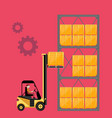 forklift truck with boxes on pallet vector image