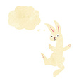 funny cartoon white rabbit with thought bubble vector image vector image