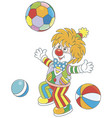 funny clown playing with colorful balls vector image vector image