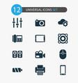 gadget icons set with loudspeaker palmtop phone vector image vector image
