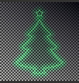 green neon christmas tree with star isolated tran vector image vector image
