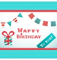 Happy birthday retro postcard with dot textured vector image