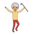 happy old woman grandma standing cartoon vector image vector image