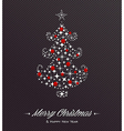 Merry Christmas and Happy New Year tree stars card vector image