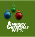 merry christmas party background glossy balls vector image