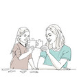 mom and daughter playing puzzle vector image