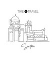 one continuous line drawing pena palace landmark vector image