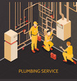plumbing service team vector image vector image