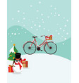 red bicycle in christmas vector image