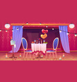 restaurant table served for romantic dating dinner vector image