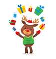 santas reindeer rudolph and gifts vector image vector image