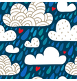 Seamless pattern with clouds and falling raindrops vector image