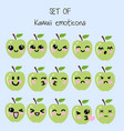 set of kawaii emoticons cute apple vector image vector image
