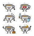 set tea character design vector image