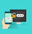 two step authentication on smartphone vector image vector image