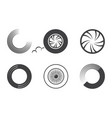 wheel car icon set isolated on white vector image vector image