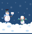 winter landscape with snowmans with scarf vector image vector image