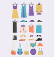 womens clothing shoes and accessories set vector image