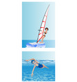 windsurfer and swimmer vector image