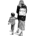 a sketch young woman with her kid going on a vector image vector image