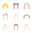 Arch icons set cartoon style vector image vector image