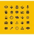 Black flat icons set Business object office tools vector image vector image