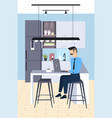 businessman sitting at workplace desk business man vector image