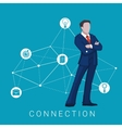 Businessman stay connection diagram Business vector image vector image