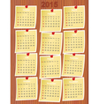 calendar 2015 on notes vector image vector image
