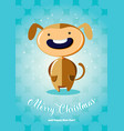 christmas card with boy in dog costume vector image vector image
