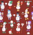christmas snowmen seamless pattern and vector image vector image
