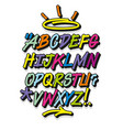 colorful graffiti font and decorations alphabet vector image vector image