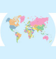 coloured political map of the world vector image vector image