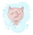 cute little pig character standing in yoga pose vector image vector image