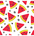 cute smiling watermelon seamless pattern vector image vector image