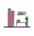 flat cartoon interior living room vector image