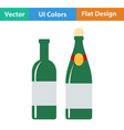 Flat design icon of Wine and champagne bottles vector image