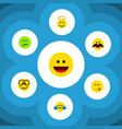 flat icon expression set of cheerful frown vector image vector image