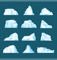 floating cartoon iceberg set isolated from vector image