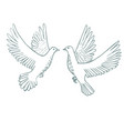 flying doves in hand-drawn style vector image