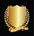 gold and black shield with gold laurels 17 vector image vector image