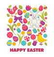 happy easter religious holiday bunny and chicken vector image vector image