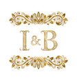 i and b vintage initials logo symbol the letters vector image vector image