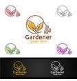 idea gardener logo with green garden environment vector image vector image