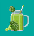 jar with broccoli smoothie with striped straw vector image