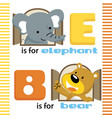 learn letters with funny animals cartoon vector image